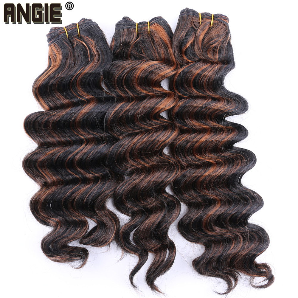 ANGIE Deep Wave Curly Synthetic Hair bundles 16 18 20 Inches Available Synthetic Hair weave 2-3 Bundles/Pack Ombre Color(China)