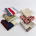 De Hankerchief bufandas de lino del Vintage pañuelos de hombre franja estrella del diseño del mapa de bolsillo pañuelos cuadrados 22 * 22 cm No. 21-40