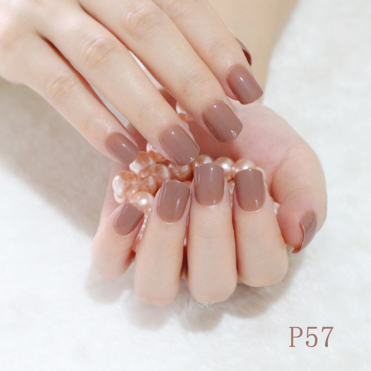 Light Brown Fake Nails Candy Color Short Artificial Full Wrapped ...