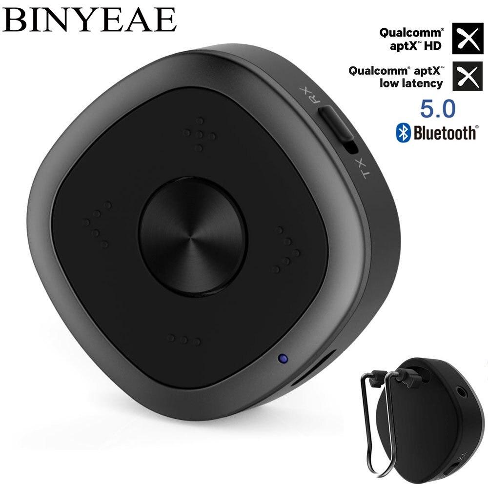 Binyeae bluetooth 5.0 Transmitter receiver Wireless aptx HD low latency CSR8675 home 3.5mm Audio tv Adapter handsfree car kit