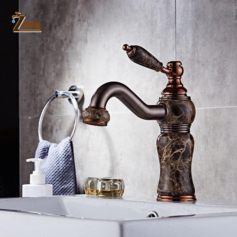 Basin Faucet Brass Oil Rubbed Bronze Modern Hotel Bath Sink Faucet Deck Mixer Tap Jade Torneira Banheiro