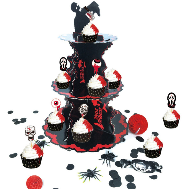2017 new design big spooktacular red black halloween cupcake stand with 3 tier cardboard table - Halloween Cupcake Holder