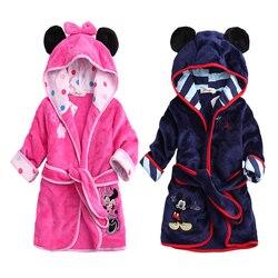 Roupões de criança crianças crianças pijamas com capuz roupas de criança meninos velo quente roupões de banho meninas camisas de noite conjunto de roupas de dormir dos desenhos animados
