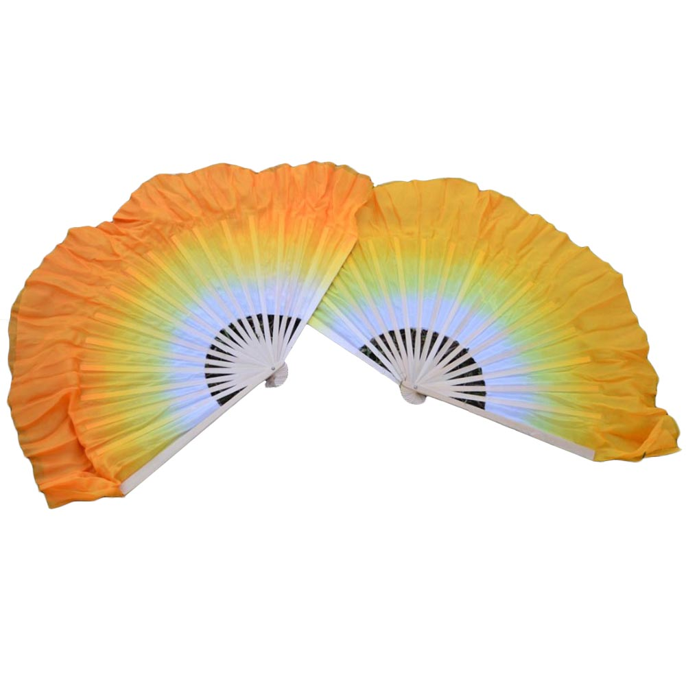 1 Pair High Quality Silk Belly Dance Short Fans White To Orange Gradient Colors Double Layered Short Silk Dance Fans Customized