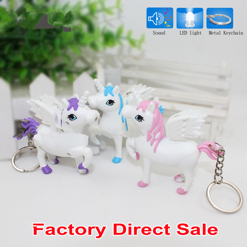 New arrive the unicorn LED Keyring with sound,Children Toys Christmas gift,lovely cartoon animal Led keychain,bag car pendant 2#