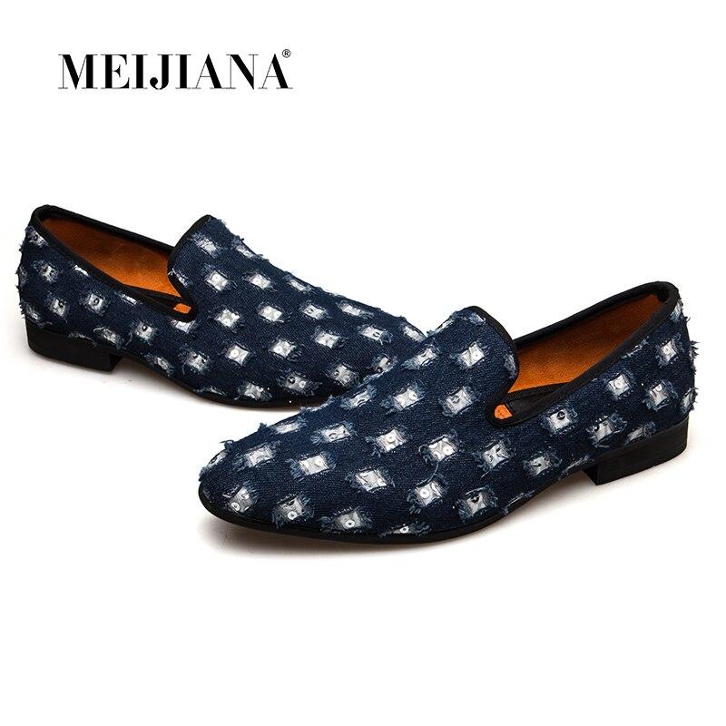 MEIJIANA 2018 Nouvelle Marque Hommes Mocassins chaussures de luxe Avec Denim Et Métal Paillettes qualité supérieure chaussures hommes décontractées