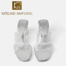 KATELVADI Women Slippers Slip On Sliders Peep Toe Ladies Clear PVC 6CM Block Heels Casual Comfort Shoe K-445