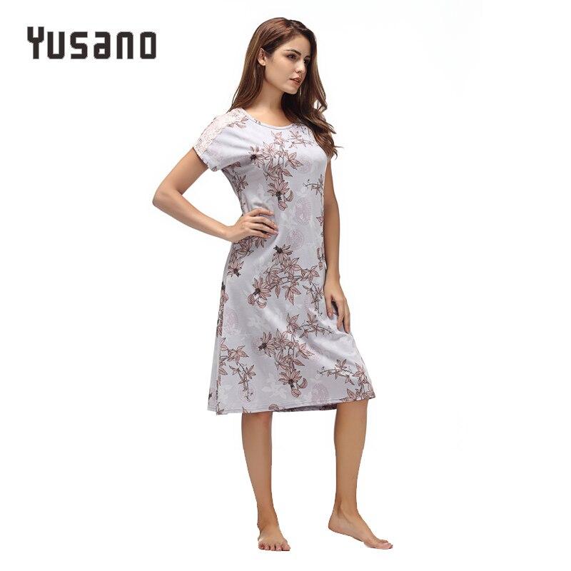 Image 5 - Yusano Women Nightgown Cotton Nighty Lace Nightshirt Short Sleeve Nightdress O Neck Homeweara Clothes Flora Print Sleep Dress-in Nightgowns & Sleepshirts from Underwear & Sleepwears