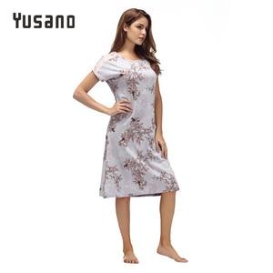 Image 5 - Yusano Women Nightgown ผ้าฝ้าย Nighty ลูกไม้ชุดนอน Nightdress แขนสั้น O Neck Homeweara เสื้อผ้า Flora พิมพ์ Sleep ชุด