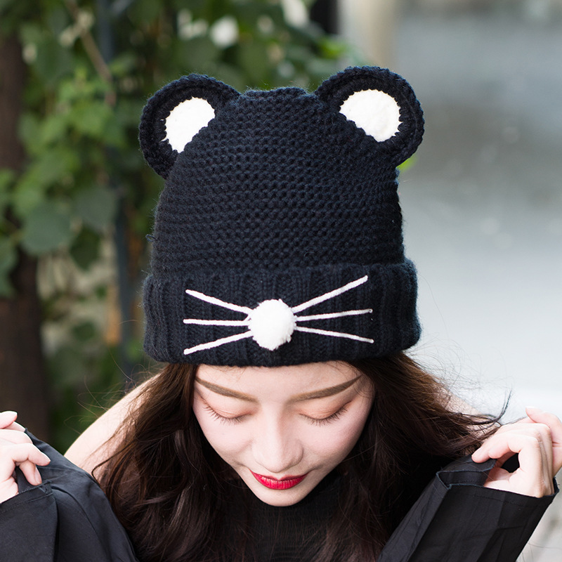 Warm Winter Hat for Women 2018 Wool Knitted Womens Cat Ears Thick Hats Skullies Pompom Ladies Caps Female Beanies Bonnet Femme wool hat women warm winter hats solid flower thick knitted lady beanies hat skullies bonnet femme bucket cloche winter cap 2017