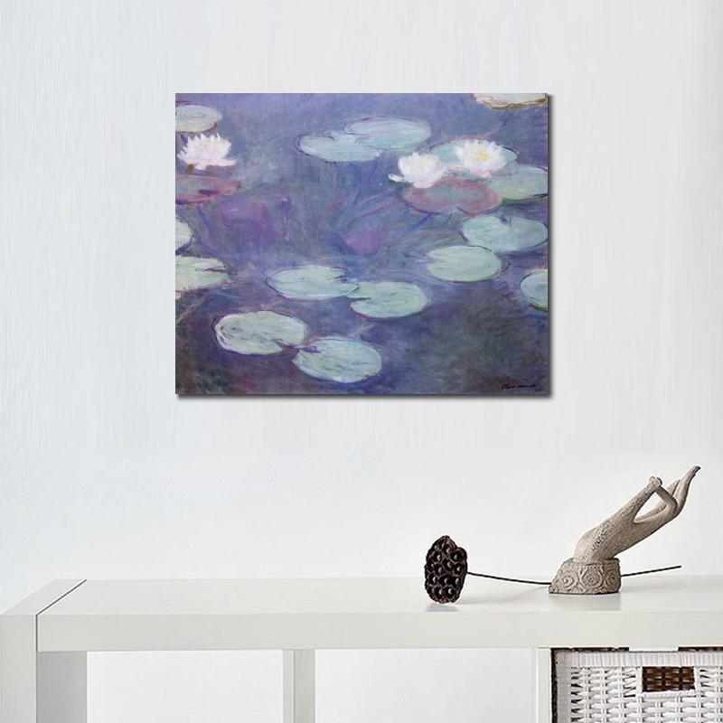 Alta calidad Claude Monet arte moderno Rosa lirios de agua pinturas ...