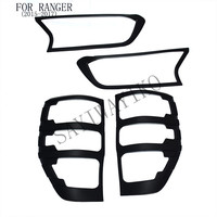 FIT for ford ranger accessories ABS matte black front tail lights covers trim for T7 xlt 2015 2017 car styling rear lamp cover