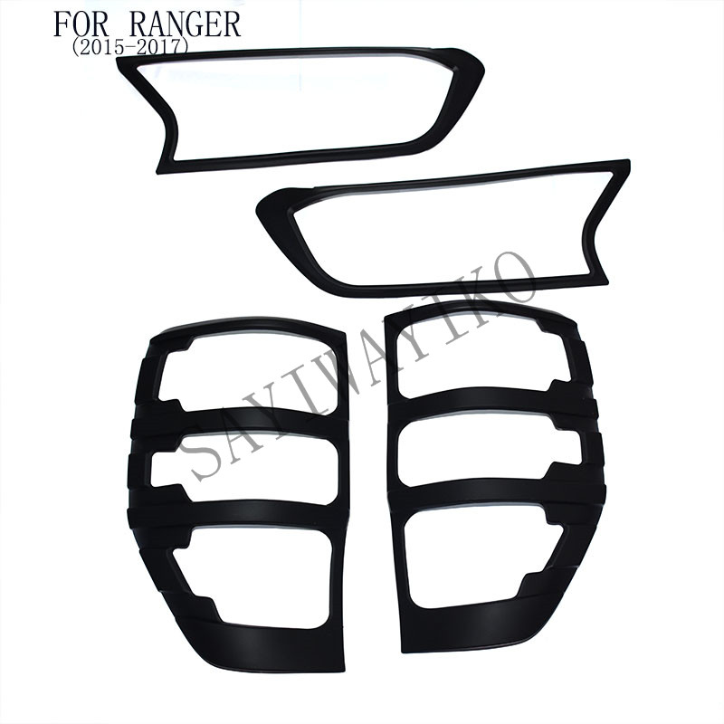 FIT for ford ranger accessories ABS matte black front tail lights covers trim for T7 xlt 2015- 2017 car styling rear lamp cover car trunk trim strip for ford edge abs chromium styling car boot cover 3d stickers cover for ford edge 2015 2016 accessories