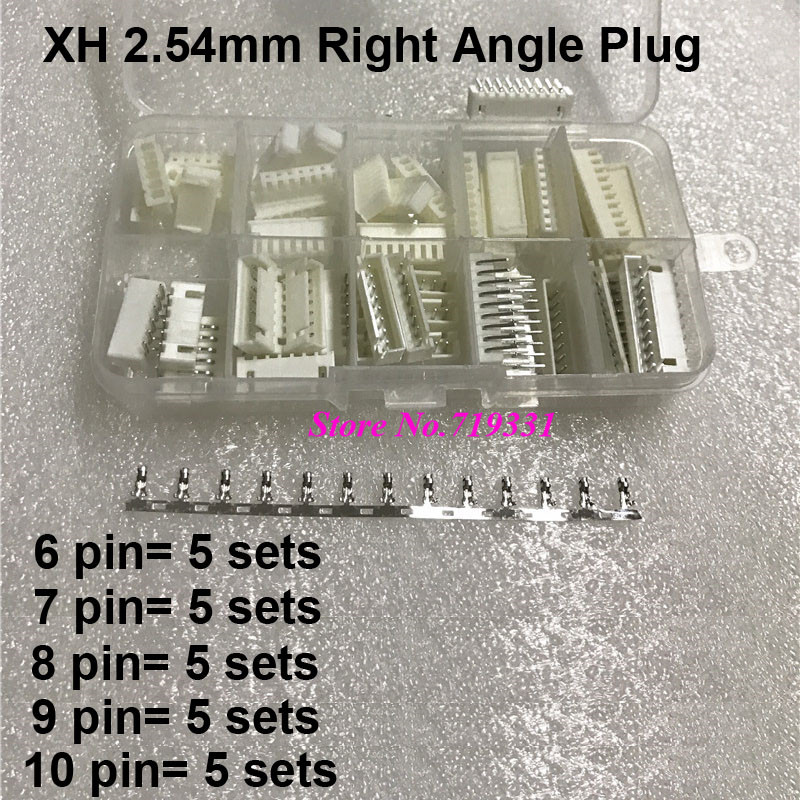 25 Kit in box  XH 2.54mm Pitch 6/7/8/9/10 pin Male & Female Right Angle Housing / Pin Header Connector Wire Connectors Adaptor 50 sets kit in box 2p 3p 4 pin 2 54mm pitch terminal housing pin header connector wire connectors adaptor xh2p kits