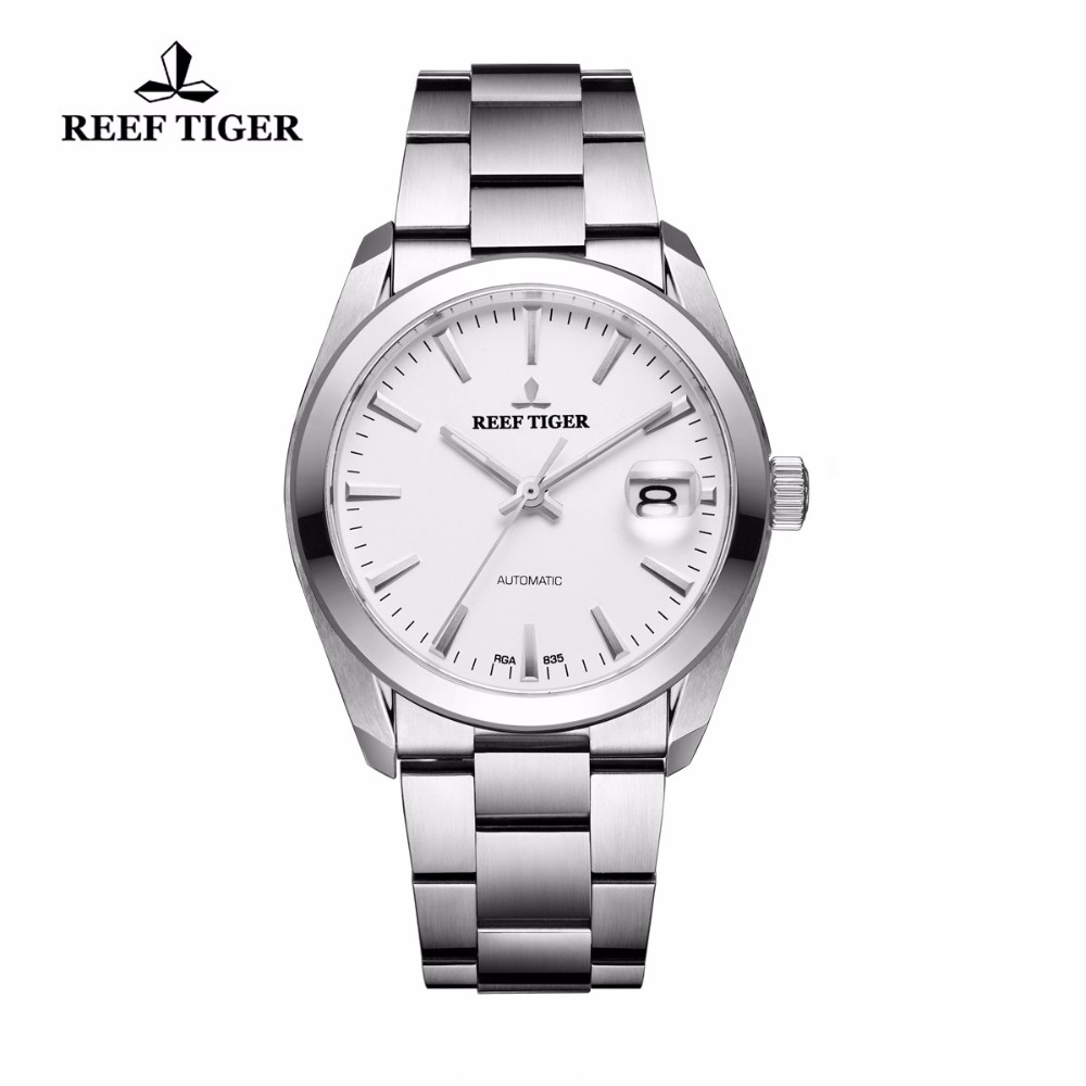 Reef Tiger Generous Dress Watch for Men White Dial Big Date Stainless Steel Automatic Watches Waterproof RGA835