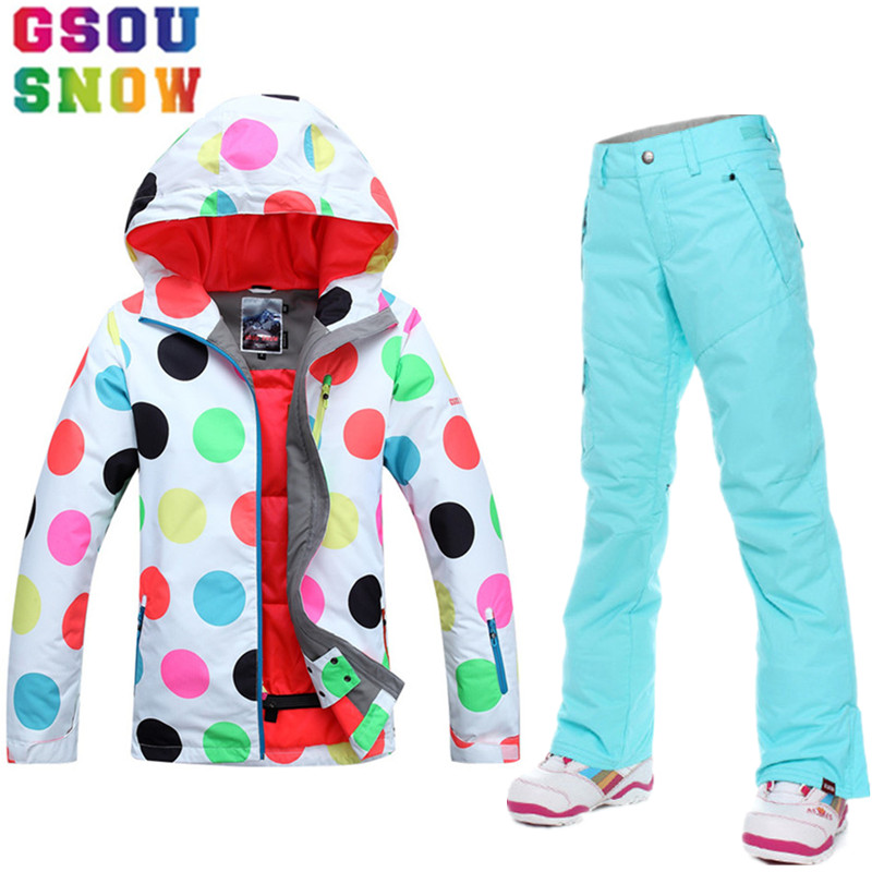GSOU SNOW Ski Suit Women Snowboard Jacket Pants Waterproof Mountain Skiing Suit Ladies Ski Jacket Pants Outdoor Sport Clothing gsou snow brand ski suit women ski jacket pants waterproof snowboard jacket pants winter outdoor skiing snowboarding sport coat