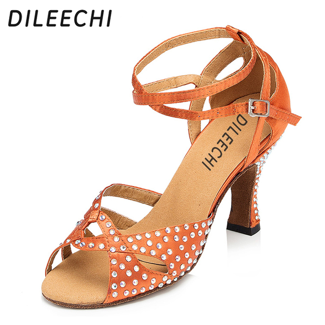 DILEECHI Adult women s dark skin satin Latin dance shoes diamond sandals female  square dance shoes high-heeled customized. SPECIAL BLACK FRIDAY PRICE 5be00859eca7