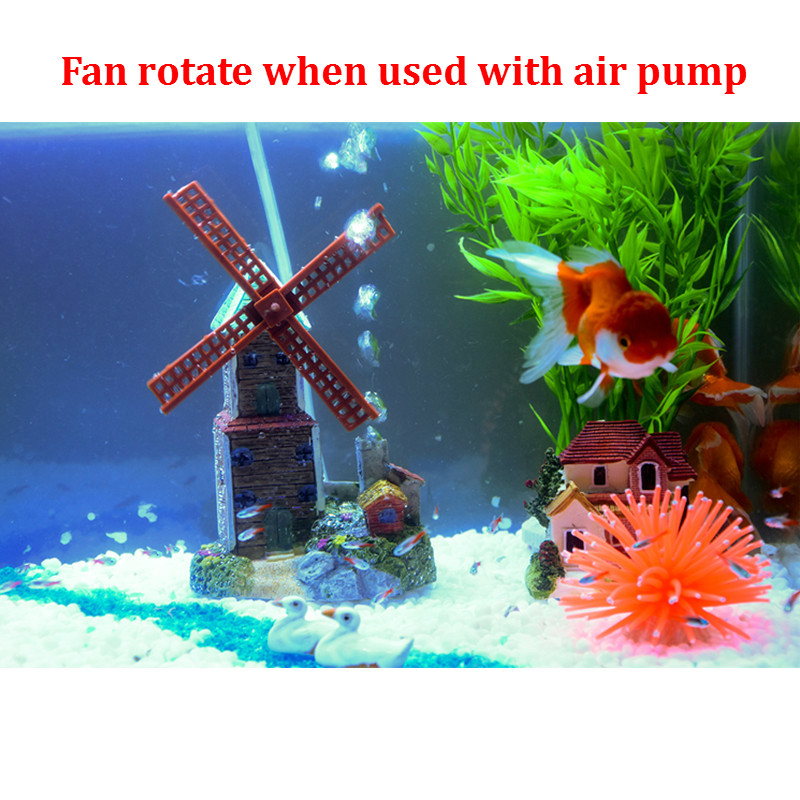 New Creative Resin Windmill Castle Aquarium Decoration Air Driving Waterwheel Rock Stone Fish Tank Ornament Used With Pump In Decorations From Home
