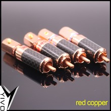 4pcs Price YIVO OEM ODM Wholesales HIFI DIY Brass Plated red copper Audio Video RCA Plug Connector