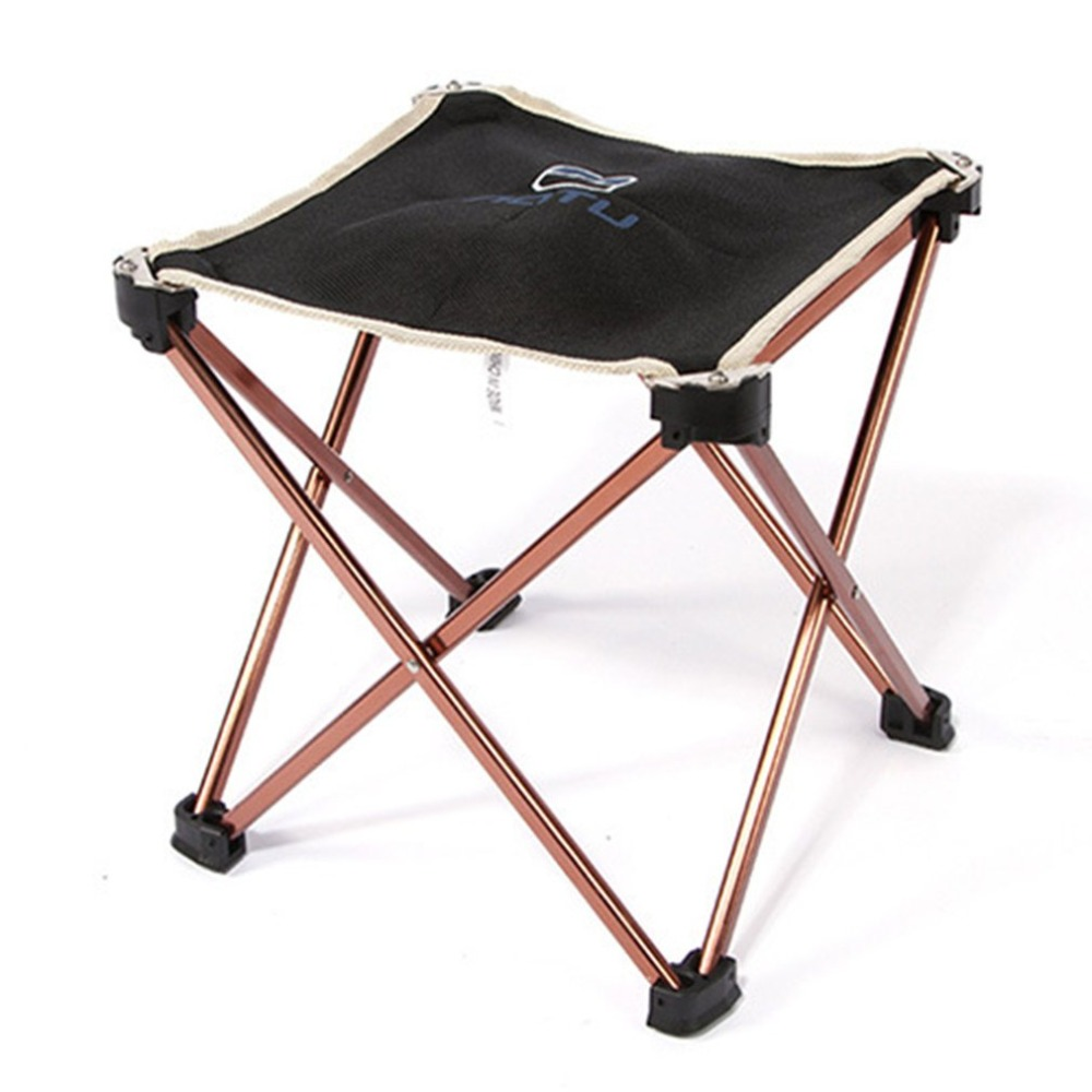 OUTAD Ultralight 7075 Aluminum Alloy Square Stool Foldable Outdoor Chair Seat Picnic BBQ Garden Chair Stool for Camping Fishing seat oxford cloth lightweight 3 in 1 outdoor portable multifunctional foldable cooler bag chair backpack fishing stool chair