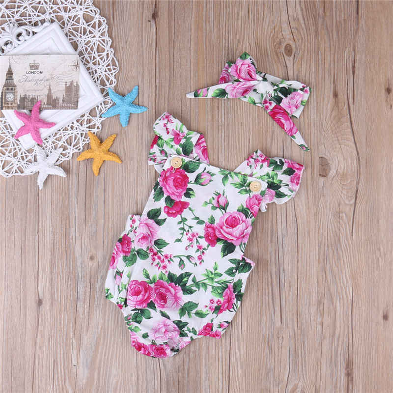 699fc899cee2b 2PCS Floral Baby Girl Clothes 2017 Summer Ruffles Halter Romper Bodysuit  +Headband Outfit Toddler Kids Clothing Set 0-24M