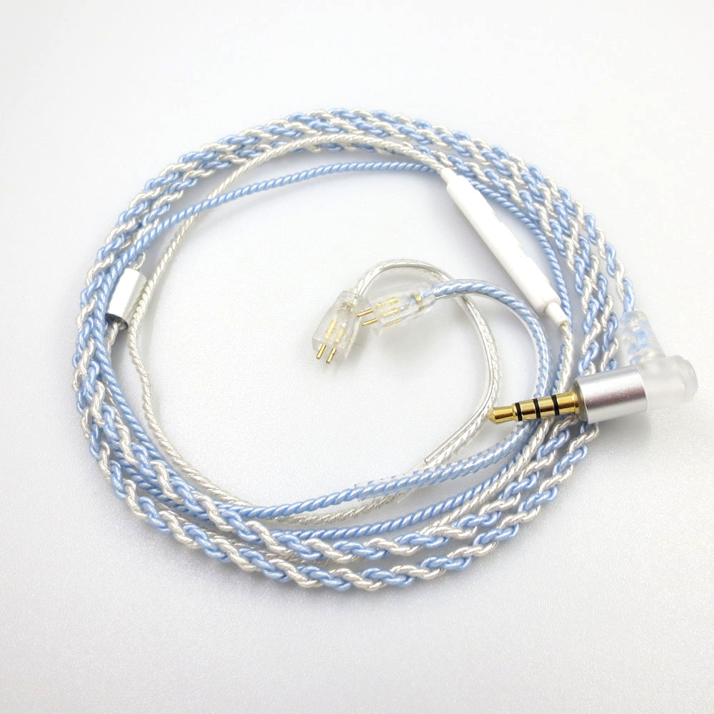 ZSFS Blue/silver mixed Mic Remote Earphone Upgrade <font><b>Cable</b></font> <font><b>0.75mm</b></font> <font><b>2pin</b></font> connector For UE TF10 TF15 5Pro SF3 SF5 5EB Earphone image