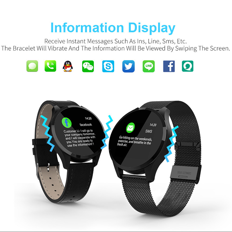 Image 3 - Q9 Bluetooth Fitness Tracker Bracelet  Women Stainless Wristband Smart Watch Men Heart Rate Monitor-in Smart Watches from Consumer Electronics