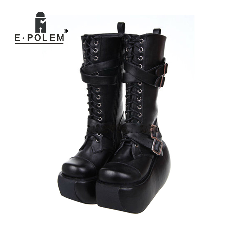 New Lolita Style Black Leather Boots With Thick-Soled Women Lace-Up Platform Boots Gothic Punk Fashion Female Boots 7002