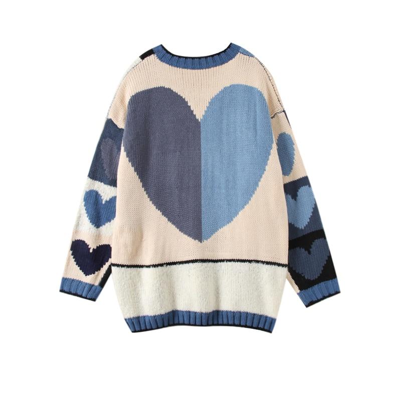 2018 Surdimensionné Pull Amour Manches D'hiver Longues C Streetwear Chaud Chandail Automne Coeur À Multi 316 Femmes 7SF7r1wx