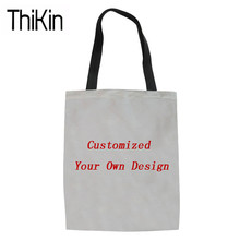 39cdba63eee5 THIKIN Shopping Bags Women Customized Your Own Design Canvas Tote Bag  Ladies Shoudler Shopper Bags for