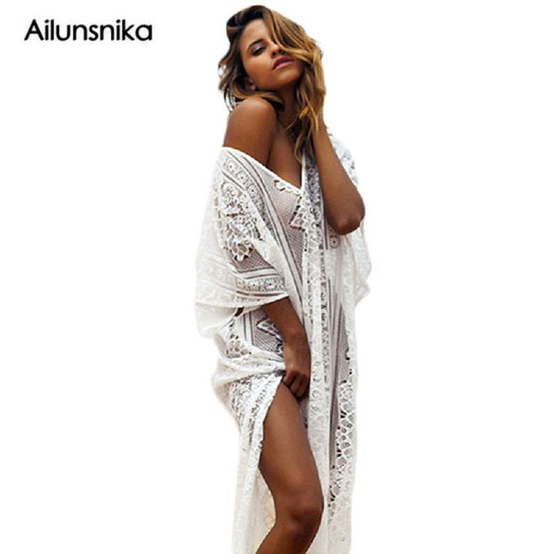 Ailiunsnika Summer Boho Lace Hollow out Beach Long Dress Kaftan Split Bathing Suit Loose Robe De Plage Female Beachwear MX342