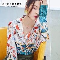 Cheerart Designer Vintage Floral Blouse Women Velvet Lapel V Neck Ladies Tops Long Sleeve Shirt Autumn 2018 Top Blouse Femme