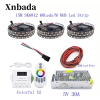 15M 10M 5M WS2812B LED Strip WS2812B IC 60 leds/M RGB Smart Pixel Strip + ColorfulX2 RGB Led Controller + 5V Led power supply