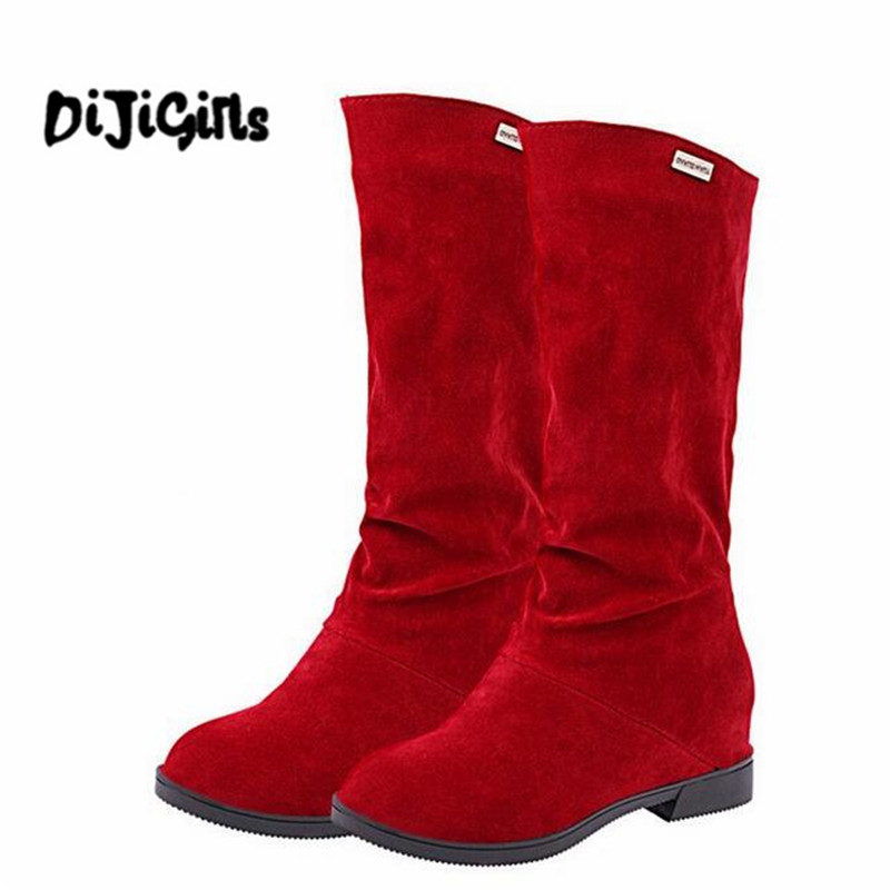 Suede Women Boots Sexy Height Increasing Mid-Calf Boots Autumn Riding Boots Slip On Flats Casual Shoes Woman  Обувь