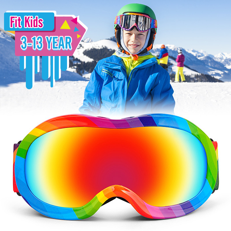 Professional 3-13 Years Kids Skiing Glasses Winter Children Snowboard Goggles Boys Girls Ski Goggles Eyewear Anti-fog Snow Glass