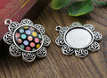 4pcs 20mm Inner Size Antique Silver Classic Style Cabochon Base Setting Charms Pendant (D2-03)