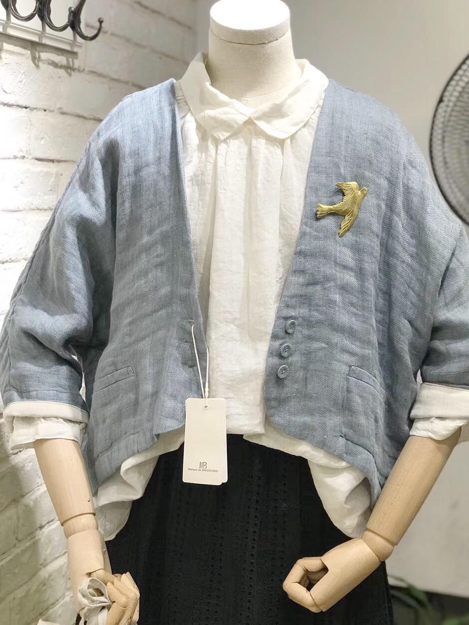 Kadın Giyim'ten Basic Ceketler'de Ilkbahar Sonbahar Kadın Rahat Gevşek Artı Boyutu Japon Tarzı Batwing Kollu Pamuk Kısa Ceketler'da  Grup 1