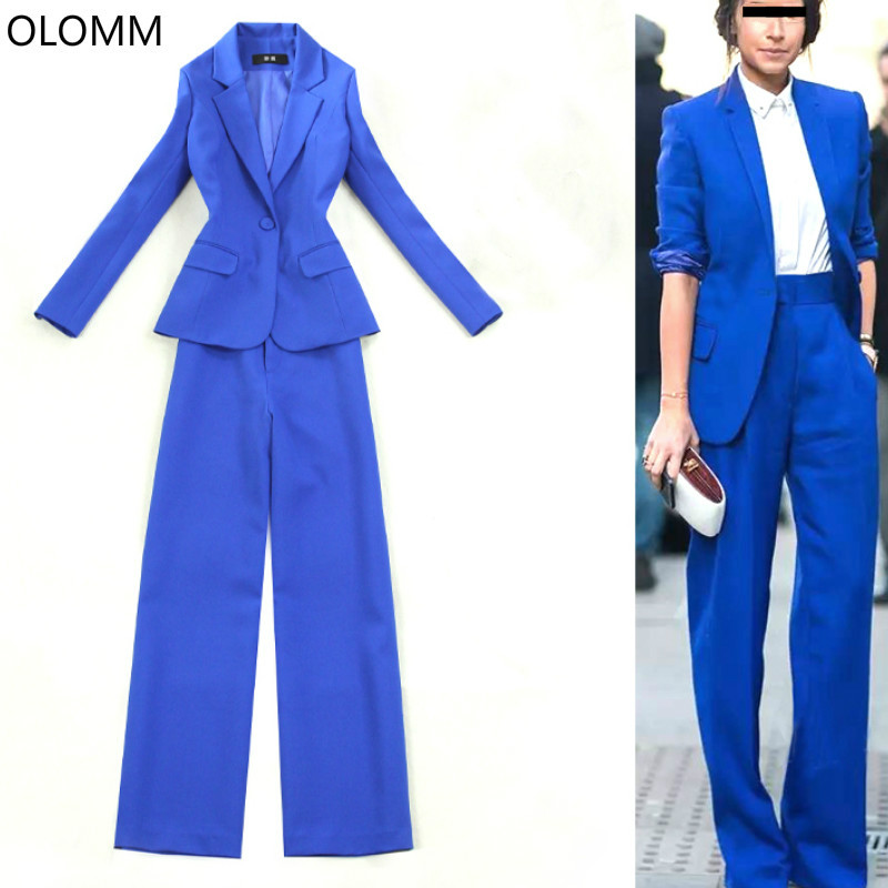 Slim Blue Blazer Casual Single Button Suit And Pants Suit Ladies Office Work Suit Two-piece Temperament Wide-leg Pants