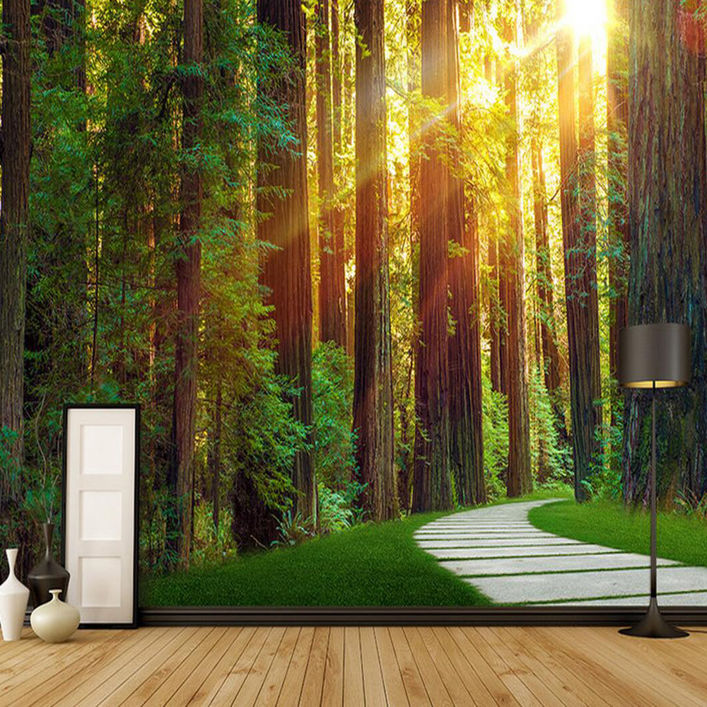 compare prices on photo wall murals nature online shopping buy sunshine origin green forest nature tree photo wall mural custom size wallpaper for living room bedroom