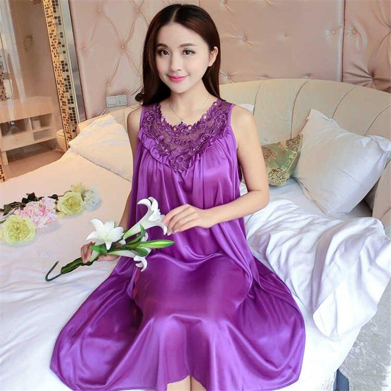 Women Satin Nightgown Sexy Lace Sleepwear Solid Color Ladies Big Size Nightwear Sleep Wear Night Gown Lingerie Dress E0015