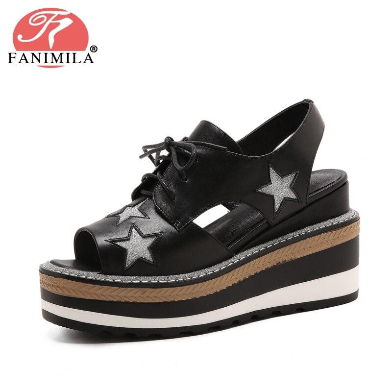 FANIMILA Women High Heel Sandals Real Leather Lace Up Platform Star Women Sandals Classic Shoes Club Footwear Size 34-39 classic leather sandals classic leather sandals women sandals summer sandals