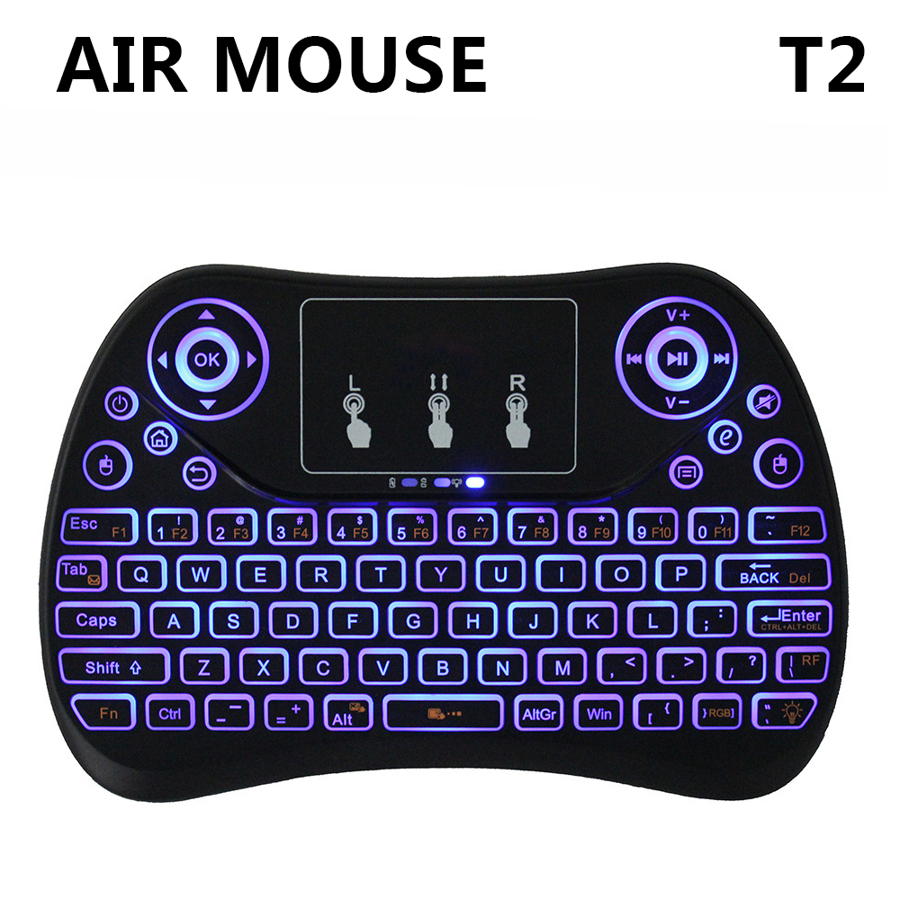 7 Color Backlight Mini Wireless Keyboard T2 Remote Control Fly Air Mouse Flat Touchpad Better than i8 MX3 for mini PC Mac Linux 2017 new elecom 2 4g mini mouse vwith charging for home office general balls the mouse girl