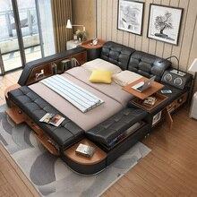 CBMMART Роскошная Современная многофункциональная мягкая кровать king queen из натуральной кожи