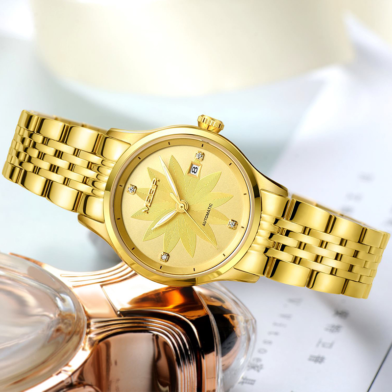 MEGIR Stainless steel Wrist watch Bracelet Mechanical watch Woman Ladies Automatic Watches Clock Female Relogio Feminino megir b