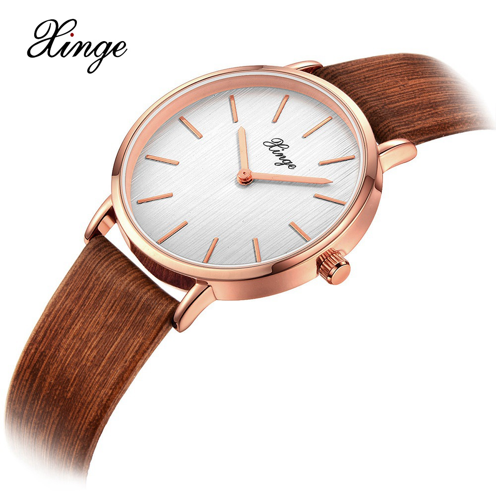 Xinge Watch Women Fashion Analog Wooden Wrist Waterproof Relogio Feminino Ladies Watches Luxury Woman Sport Quartz-Watch XG1066 ultra luxury 2 3 5 modes german motor watch winder white color wooden black pu leater inside automatic watch winder