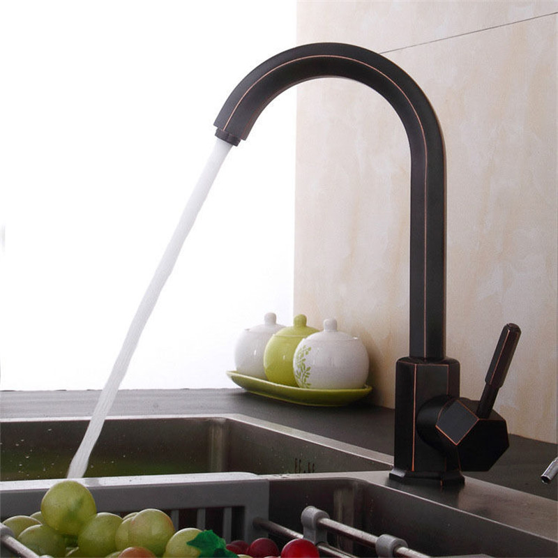 Kitchen Faucets Brass Sink Mixer Tap Hot & Cold Single Handle Deck Water Crane Mixer Faucet Black Oil Brushed Kitchen Faucet