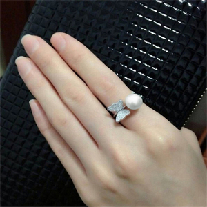 Image 3 - ASHIQI Real 925 Sterling Silver Ring Natural Freshwater Pearl Butterfly Jewelry for Women adjustable