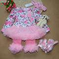 Spring And Autumn Baby Girls Clothing Set  Flower Print Princess Infant Clothes Romper With Kneepad Shoes Hairband 4 Pieces