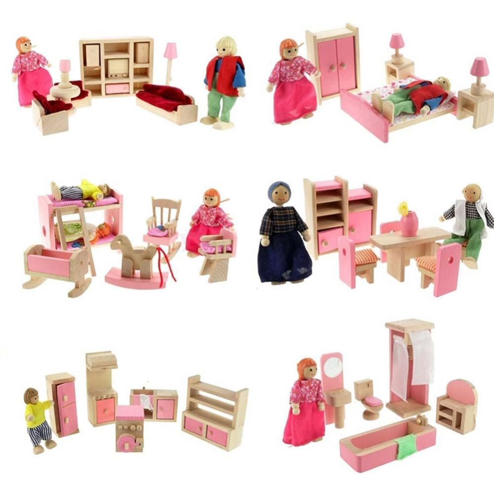 Dollhouse Furniture Double Bed With Pillows And Blanket Wooden Doll Bathroom Pretend Dolls Simulation Toys Miniature Dollhouses
