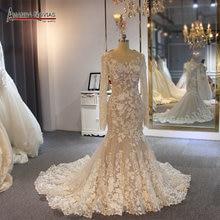 Long sleeves lace mermaid wedding dress for muslim girl customer order color